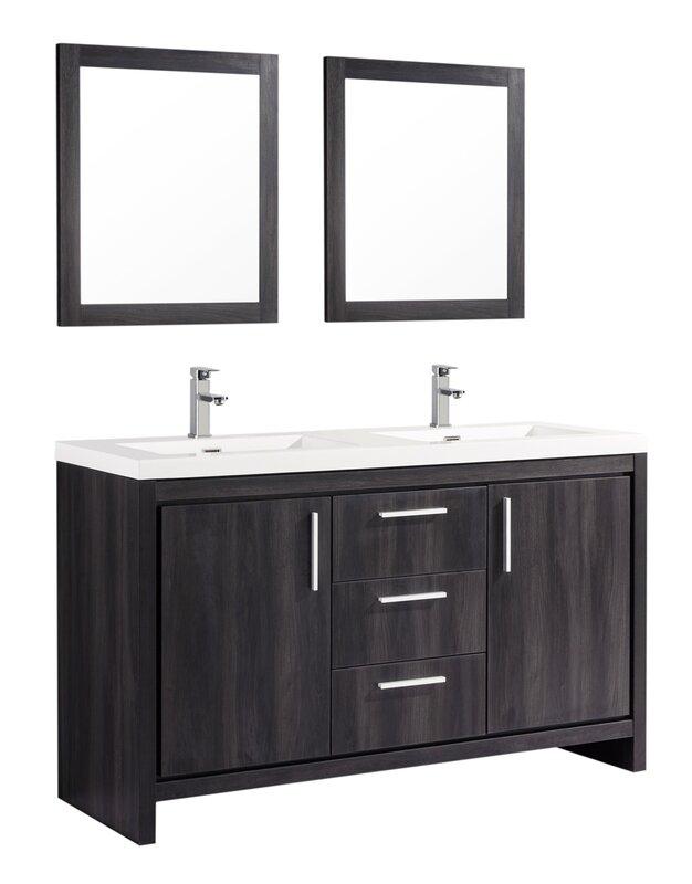 "Miami Bathroom Vanity mtdvanities miami 59"" double sink modern bathroom vanity set with"