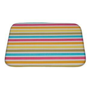 Picnic Close Up of Striped Colour Bath Rug
