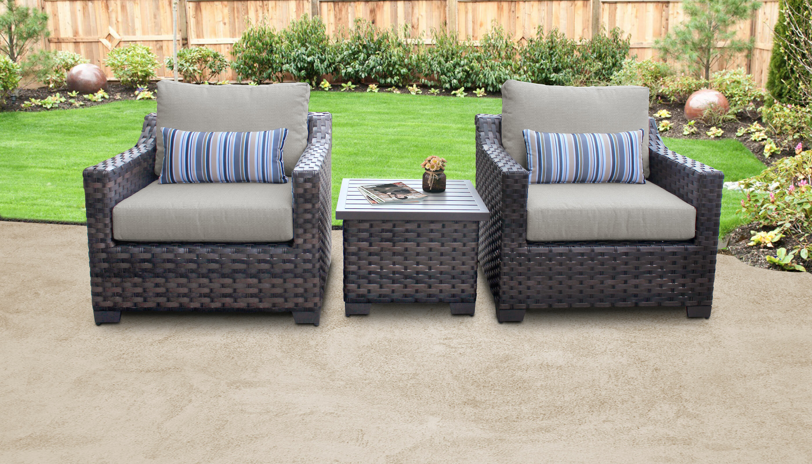 Kathy Ireland Homes Gardens By Tk Clics River Brook 3 Piece Outdoor Wicker Patio Furniture Set 03a Wayfair