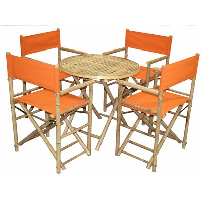 5 Piece Dining Set Bamboo54 Color: Orange