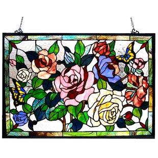 Roses Butterflies Design Window Panel