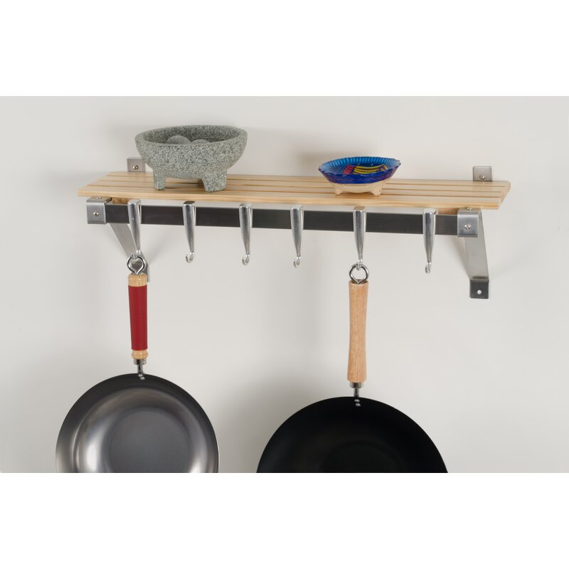 Concept Housewares Stainless Steel Wall Mounted Pot Rack ...