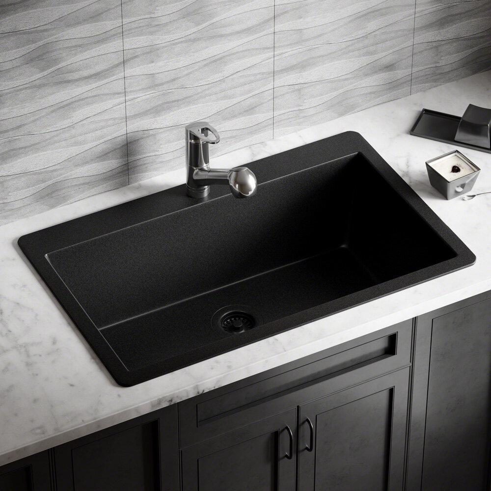 Mrdirect granite composite 33 l x 21 w drop in kitchen sink with flange wayfair