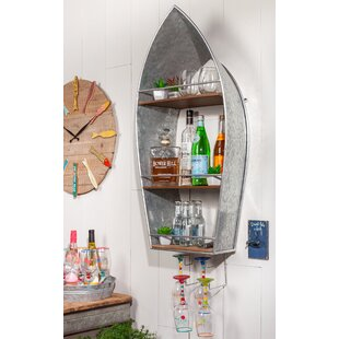 Snelson Metal Boat Bar with Wine Storage
