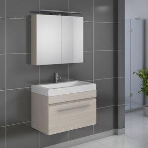 SAM Stil Art Möbel GmbH Wandmontierter Waschtisch Lanzarote mit Spiegel und Armatur