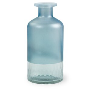 Frosted Blue Glass Bottle (Set of 2)