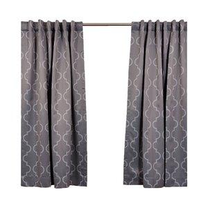 Grouse Geometric Blackout Thermal Rod Pocket Single Curtain Panel