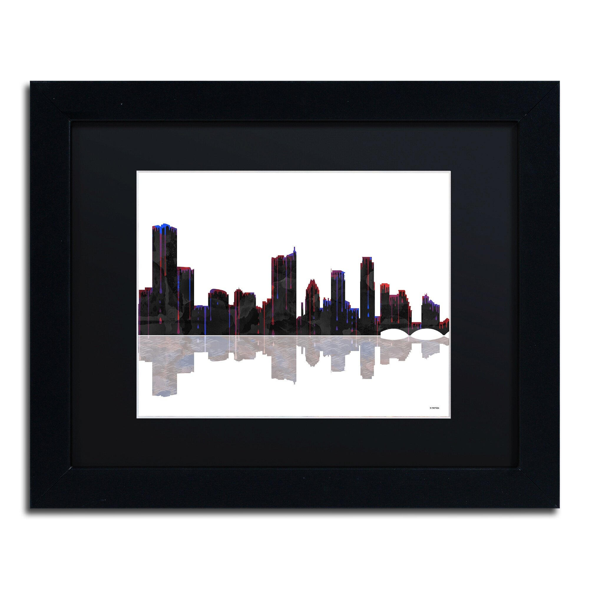 Trademark Art Austin Texas Skyline by Marlene Watson Framed Graphic ...