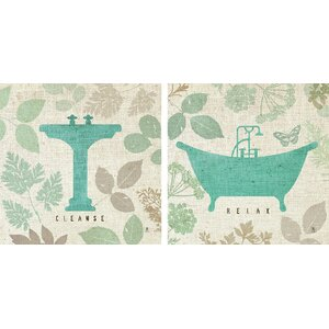 'Forest Bath' 2 Piece Graphic Art Print Set