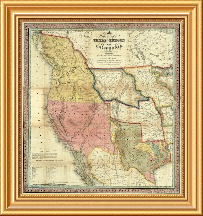'A New Map of Texas Oregon and California, 1846' Framed Graphic Art Print  on Canvas