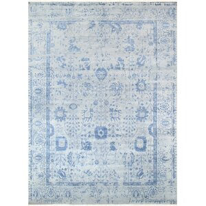 Transitionall Hand-Knotted Wool Gray/Blue Area Rug