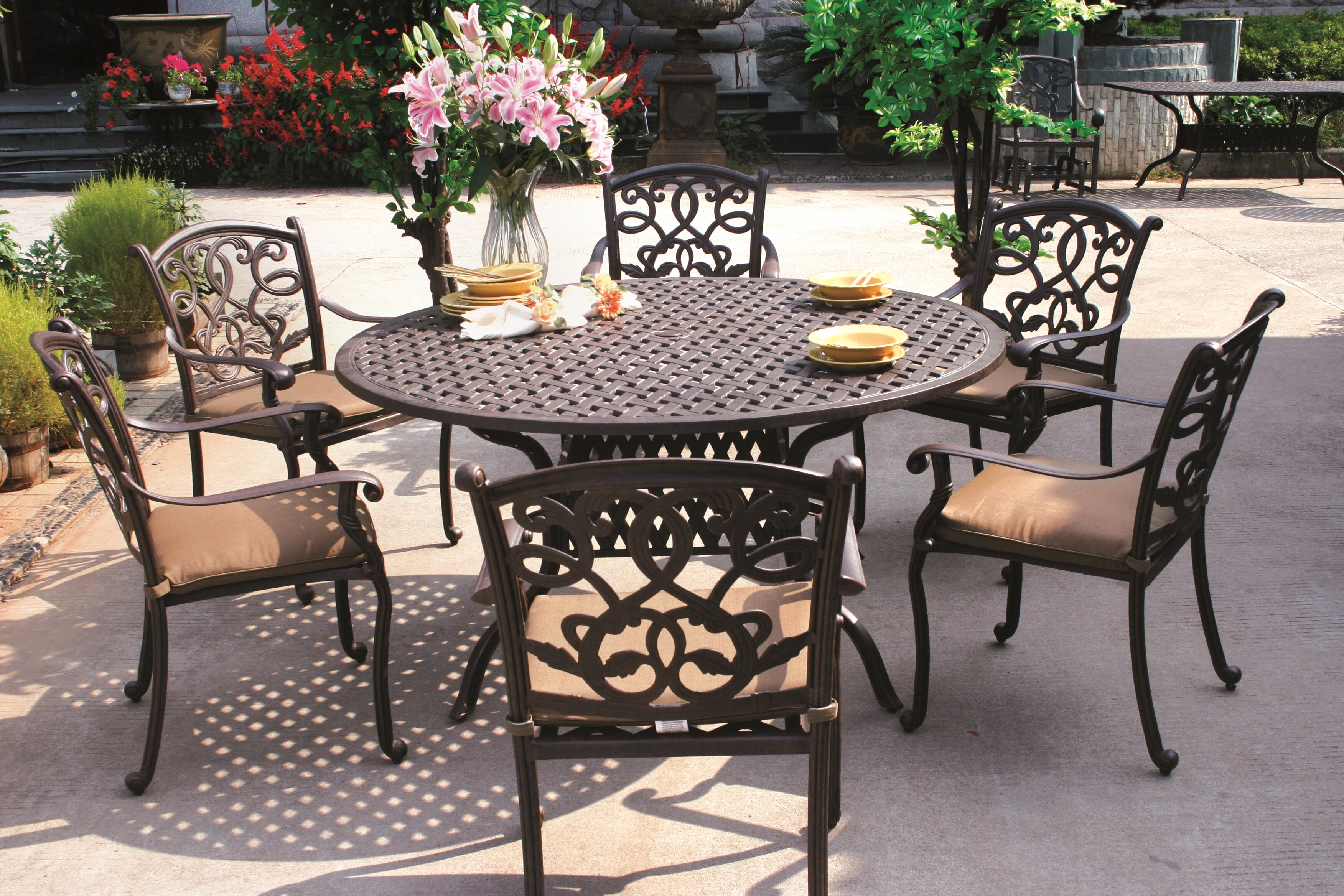 Fleur de lis living calhoun traditional 7 piece dining set with cushions reviews wayfair