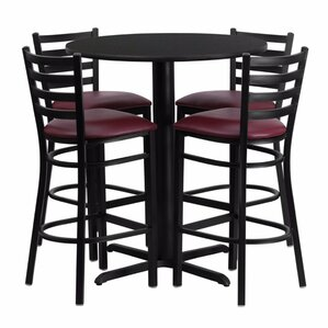 Alvarez Round Laminate 5 Piece Upholstered Pedestal Pub Table Set by Red Barrel Studio