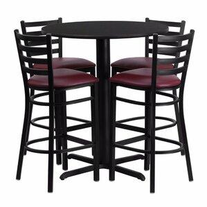Alvarez Round Laminate 5 Piece Upholstered Pedestal Pub Table Set by Red Barrel Studio