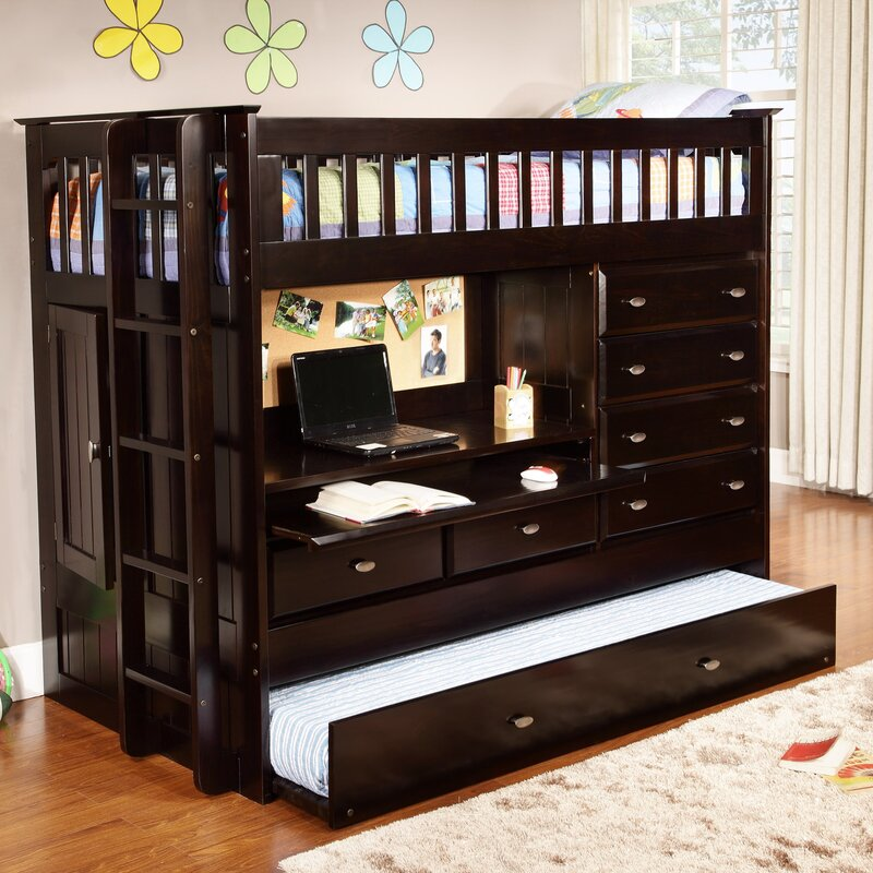 viv rae kaitlyn twin loft bed with trundle and storage reviews wayfair. Black Bedroom Furniture Sets. Home Design Ideas
