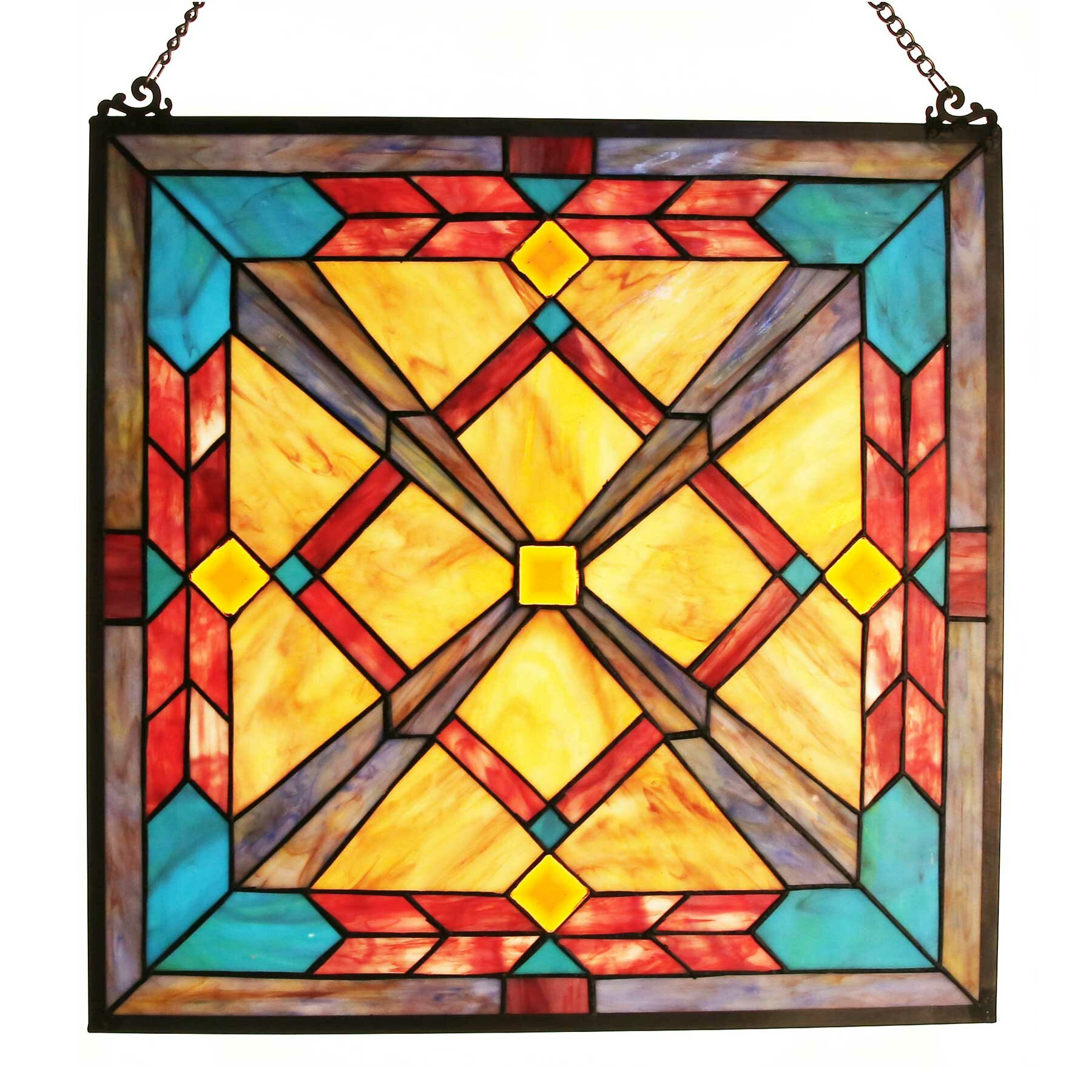 Fleur De Lis Living Southwest Sunset Tiffany Style Stained Glass ...