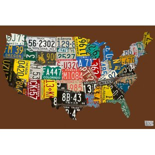 Usa License Plate Map On Wood | Wayfair