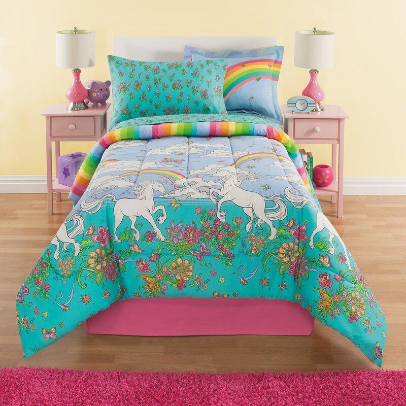 Zoomie Kids Fordham Unicorn Reversible Bed In A Bag Set
