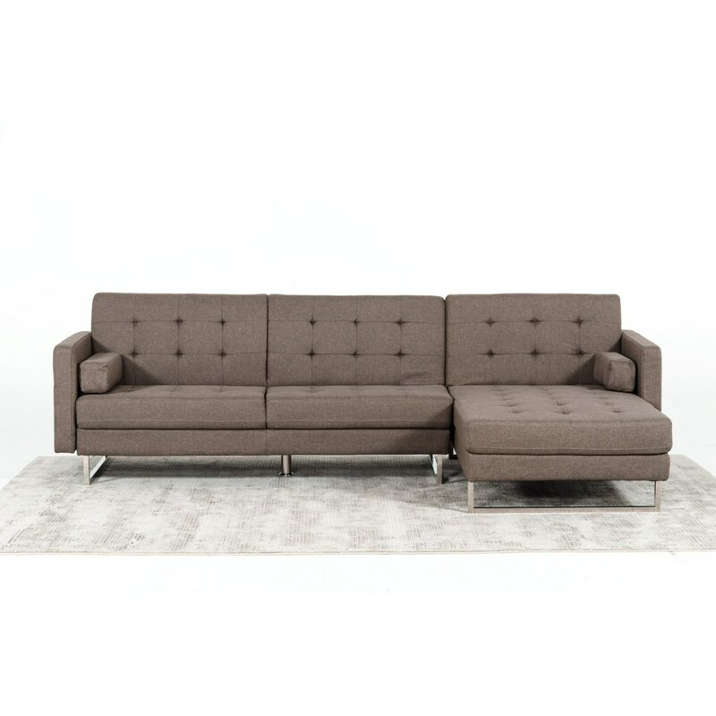 Munday Modern Brown Fabric Sectional Sofa Bed