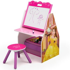 Disney Princess Activity Center Easel Art Desk with Stool and Toy Organizer by Delta Children