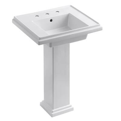 Tresham Ceramic 24 Pedestal Bathroom Sink With Overflow