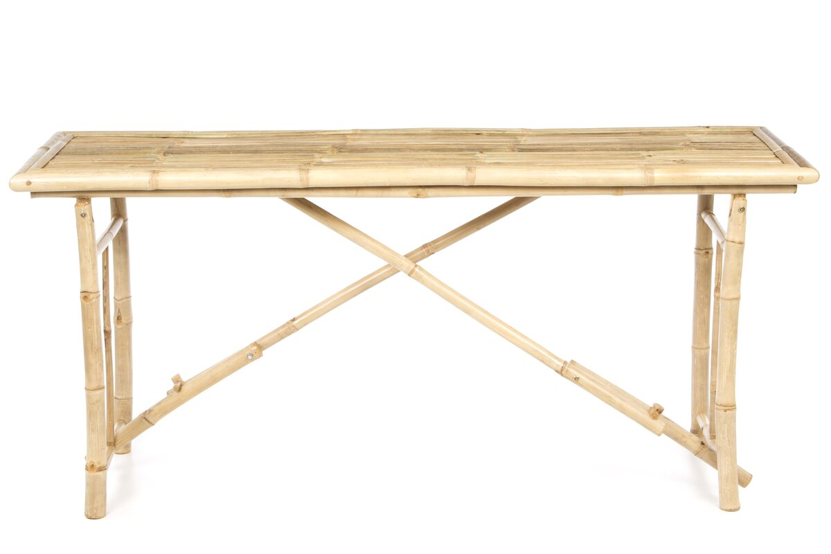 Bay isle home porter long folding bamboo console table for Table console retractable