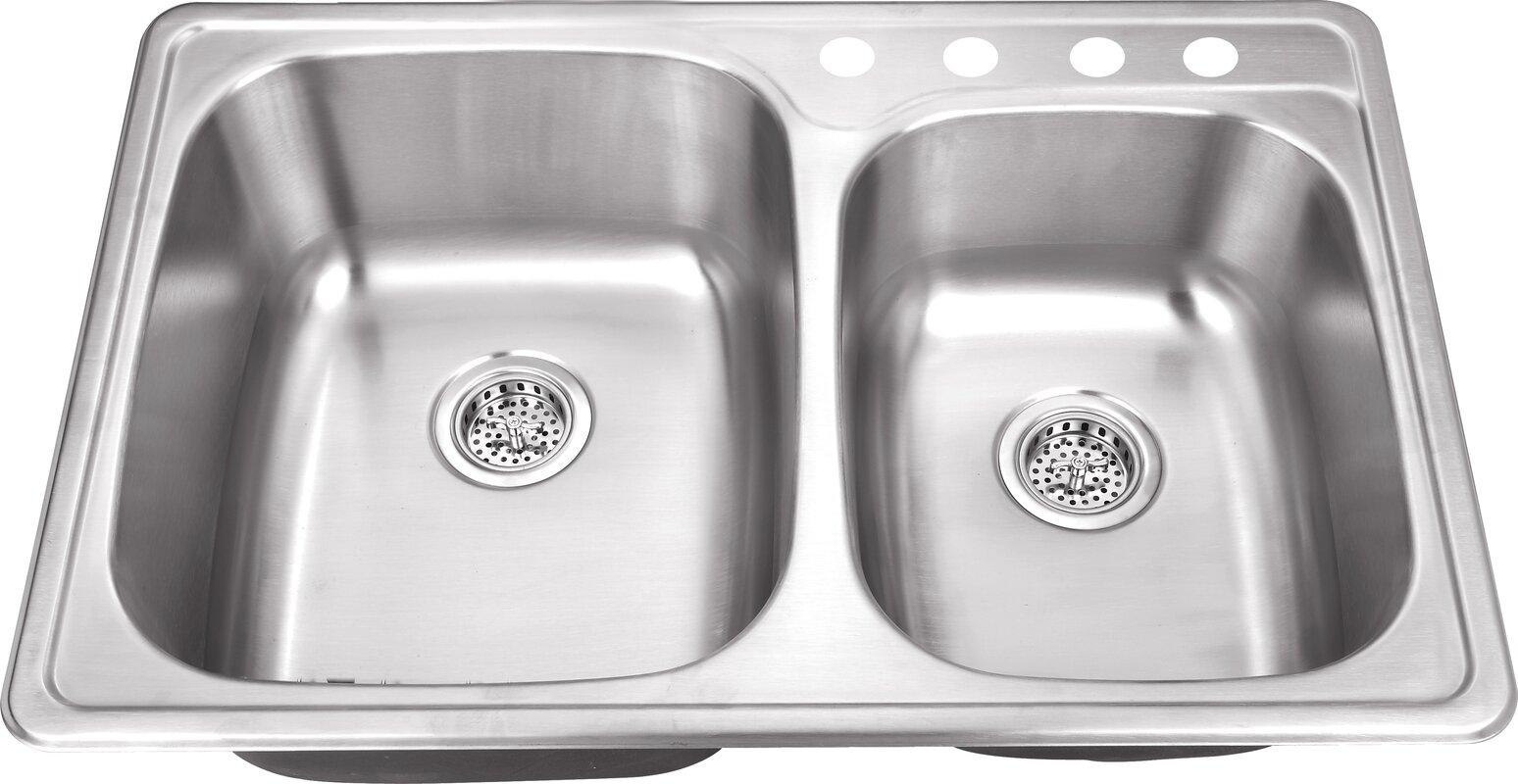 Metal Kitchen Sinks Soleil 33 x 22 drop in double bowl kitchen sink reviews wayfair 33 x 22 drop in double bowl kitchen sink workwithnaturefo