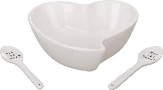 3 Piece Heart Bowl with Spoon Set