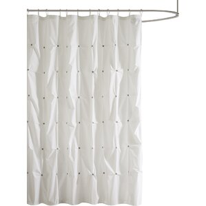 Masie Cotton Shower Curtain. Navy White