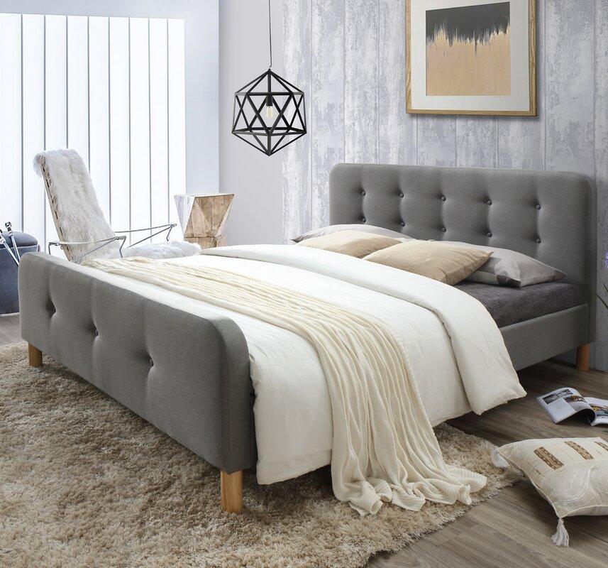 riccardo midcentury fabric upholstered platform bed