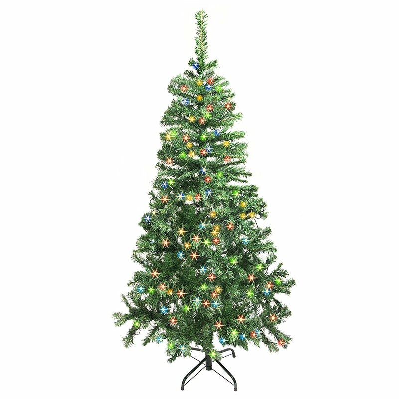 5' Green Pine Artificial Christmas Tree with 250 LED Multi coloured Lights  with Stand - ALEKO 5' Green Pine Artificial Christmas Tree With 250 LED Multi