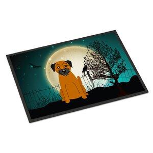 Halloween Scary Border Terrier Doormat