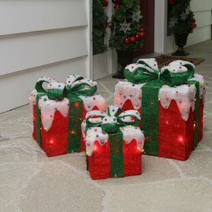 3 piece sparkling red snow covered gift box christmas decoration set