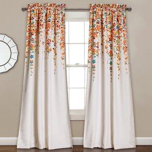 Cumberland Nature Floral Room Darkening Thermal Rod Pocket Curtain Panels Set Of 2