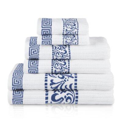 House of Hampton Smithton 6 Piece 100% Cotton Towel Set Color: Navy Blue