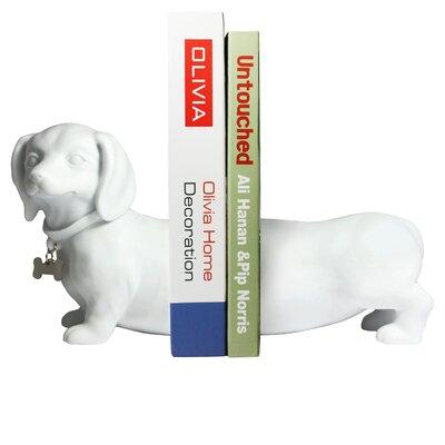 Winston Porter Tabron Dachshund Dog Book Ends Color: White