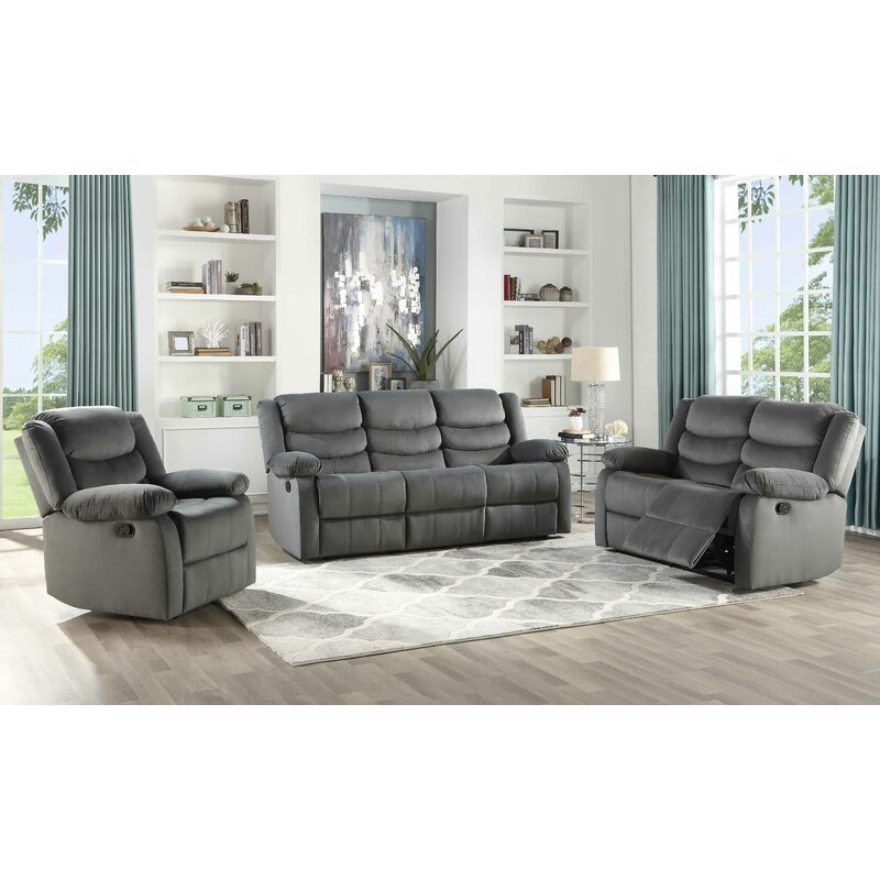 Winston Porter Act 3 Piece Suede Reclining Living Room Set Reviews Wayfair