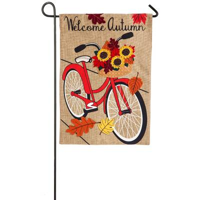 Autumn Bicycle 2-Sided Polyester 1\u00276 x 1 ft. Garden Flag Peacock 1\u00276\