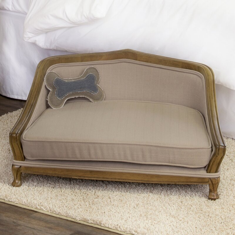 sophisticated decorative dog sofa with arched wood frame - Wood Framed Sofa