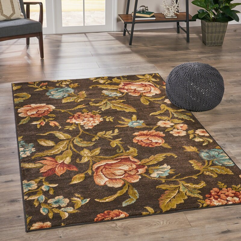 Alcott Hill Acevedo Vintage Floral Brown/Green Area Rug, Size: Rectangle 710 x 10