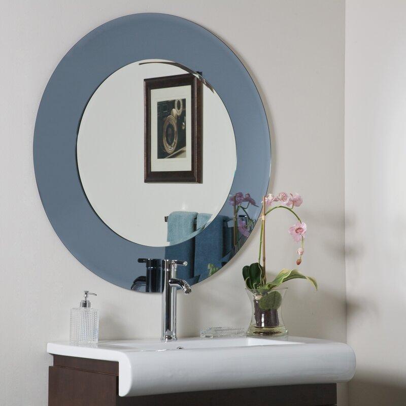Wall Mirror With Shelf decor wonderland camilla modern round wall mirror & reviews | wayfair