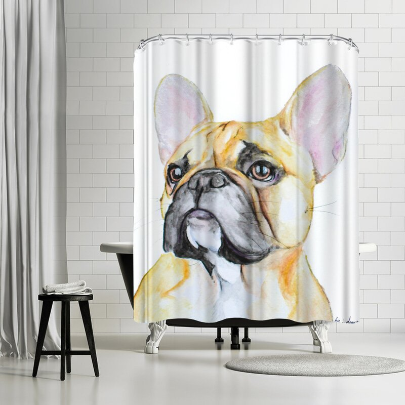 Allison Gray French Bulldog Shower Curtain