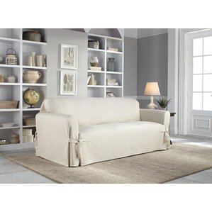 Cotton Duck Box Cushion Sofa Slipcover by Serta