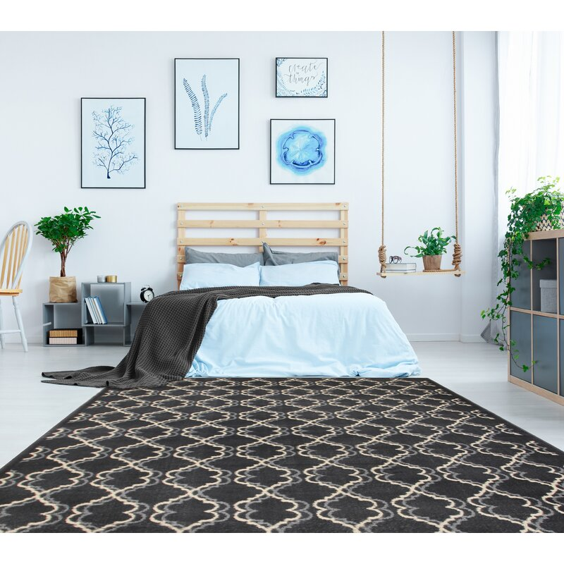 charlton home meister washable gray area rug | wayfair