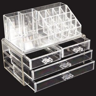 Multi-Check and 4 Drawers Integrated Acrylic Makeup Organizer