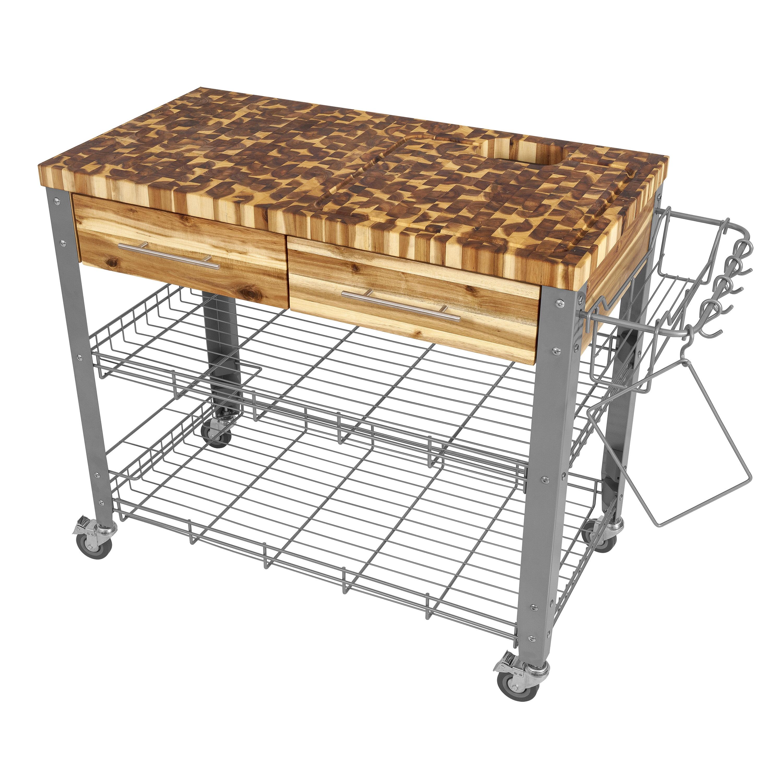 Millwood Pines Zephyrine Kitchen Cart with Butcher Block Top