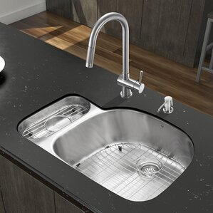 VIGO 32 inch Undermount 80/20 Double Bowl 18 Gauge Stainless Steel Kitchen Sink with Gramercy Stainless Steel Faucet, Grid...
