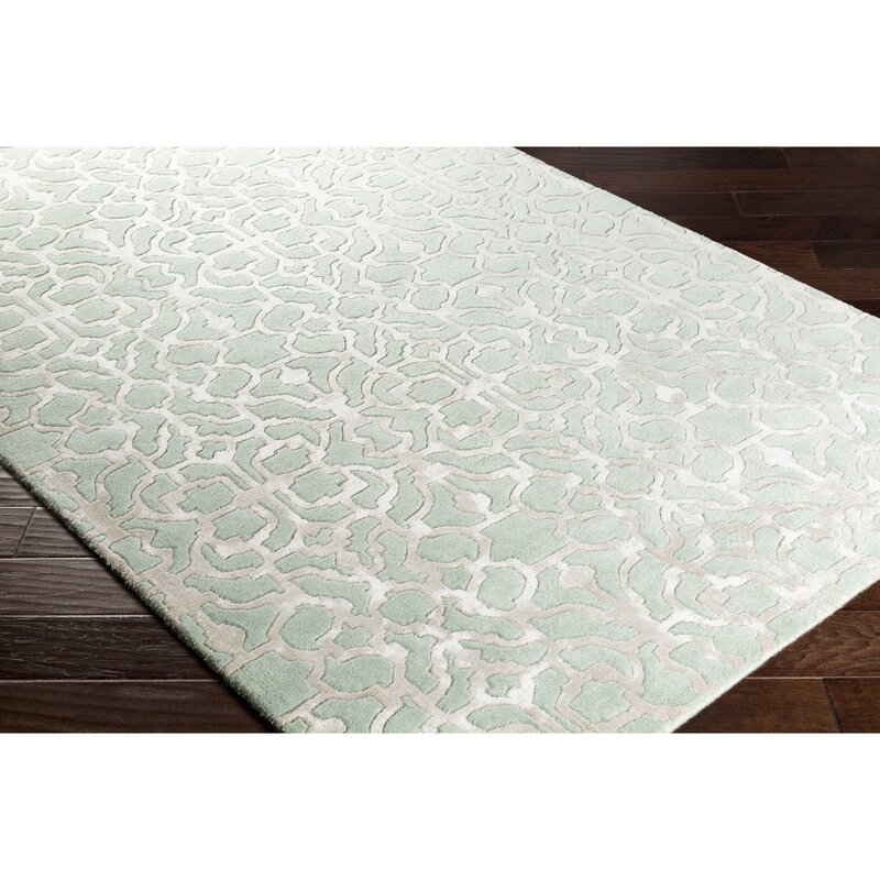 Alcott Hill Silvera Hand-Knotted Wool Mint Area Rug, Size: Rectangle 8 x 10