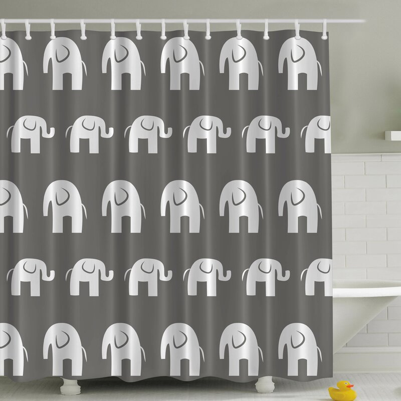 Big Elephant Small Print Shower Curtain