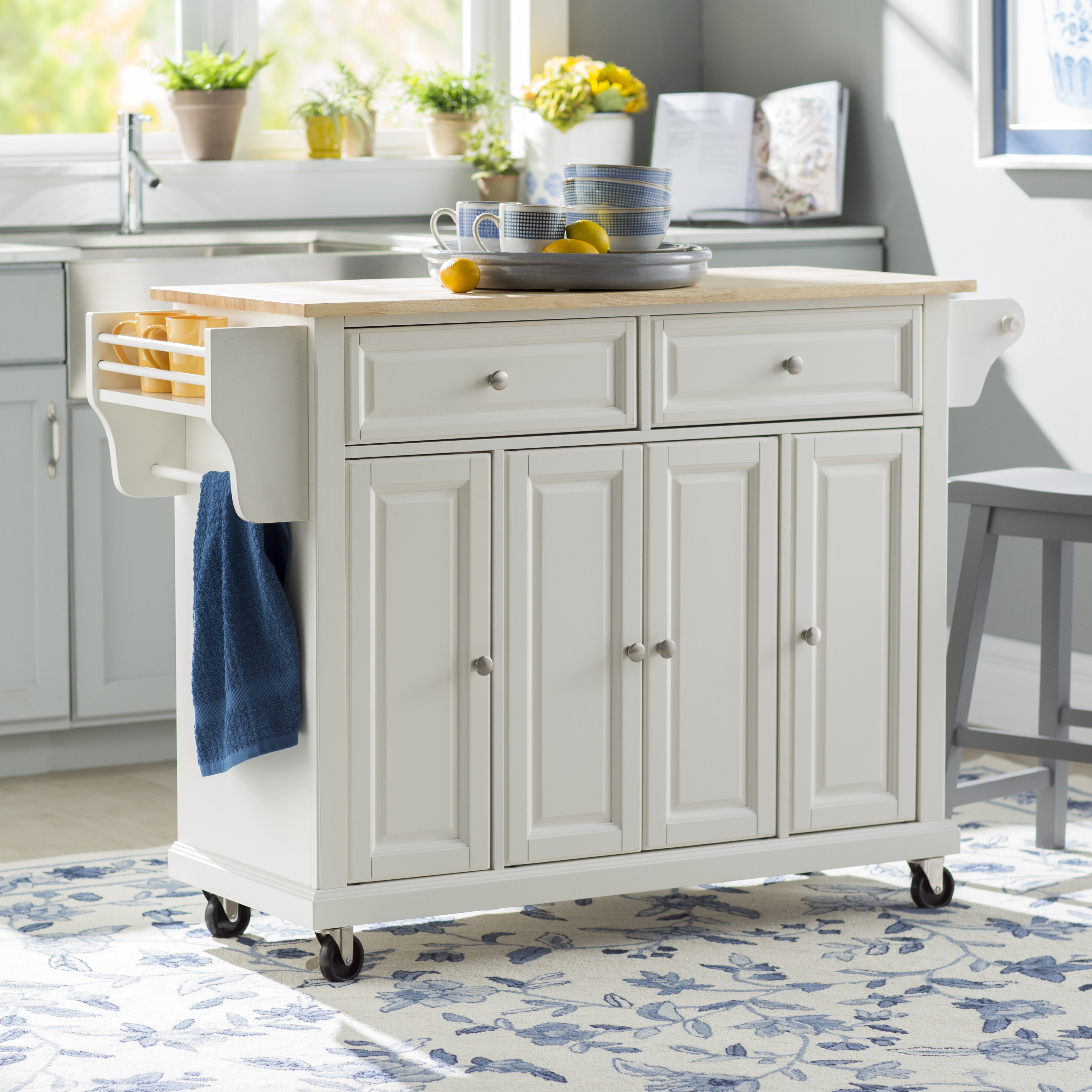 August Grove Comte Kitchen Cart/Island with Natural Wood Top ...